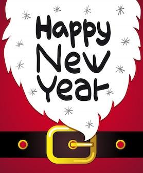 Felice anno nuovo lettering su sfondo di barba