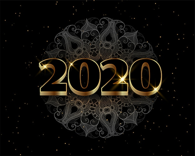 Felice anno nuovo nero e dorato stile lussuoso sfondo