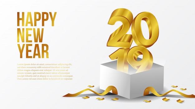 Felice anno nuovo partito con oro 3d con scatola aperta