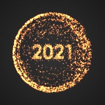 Felice anno nuovo poster del cerchio. concetto di punto di festa di fuochi d'artificio di particelle.