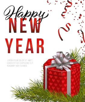 Felice anno nuovo poster design. scatola regalo rosso