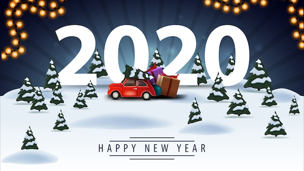 Felice anno nuovo, saluto cartolina blu con paesaggio invernale dei cartoni animati e auto d'epoca rossa