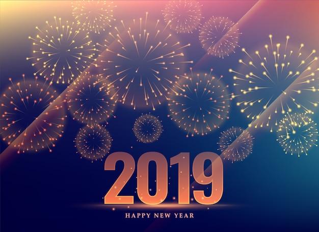 Felice anno nuovo sfondo 2019 con fuochi d'artificio