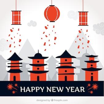 Felice anno nuovo sfondo con case cinesi e lanterne