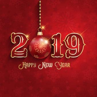 Felice anno nuovo sfondo con gingillo appeso