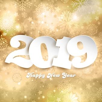 Felice anno nuovo sfondo con numeri su design oro
