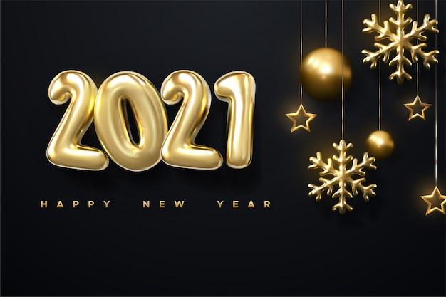 Felice anno nuovo sfondo con realistica scritta in oro 2021 e fiocco di neve d'oro su sfondo nero orizzontale.