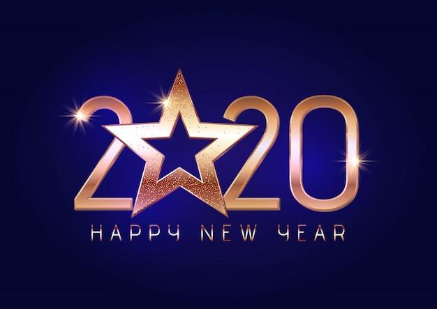 Felice anno nuovo sfondo con scritte in oro e stelle