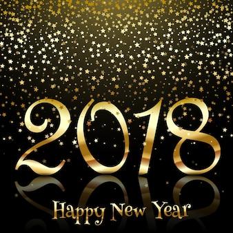 Felice anno nuovo sfondo con stelle d'oro