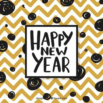 Felice anno nuovo sfondo con strisce a zig zag