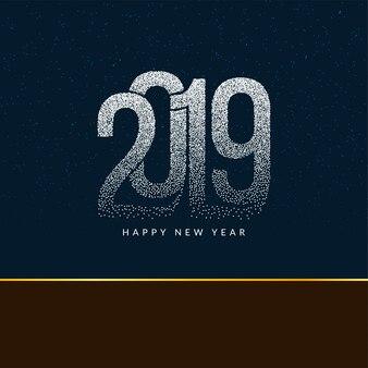Felice anno nuovo sfondo del testo punteggiato moderno 2019