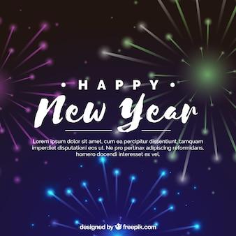 Felice anno nuovo sfondo di tutti con fuochi d'artificio