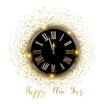 Felice anno nuovo sfondo orologio con coriandoli d'oro
