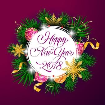 Felice anno nuovo venti diciotto anni lettering