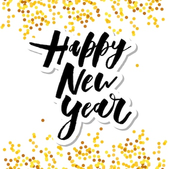 Felice anno nuovo vettore frase frase frase lettering calligrafia oro