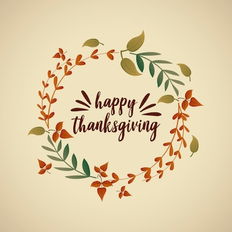 Felice auguri di ringraziamento e foglie di autunno