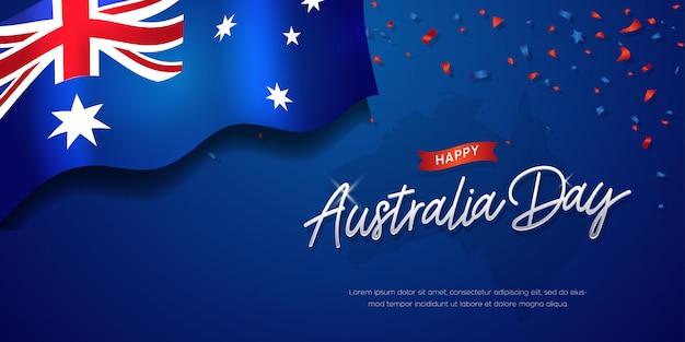 Felice australia day celebration poster o banner sfondo con bandiera