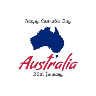 Felice australiano giorno 26 gennaio con carta di mappa