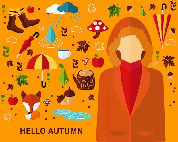Felice autunno concetto sfondo.