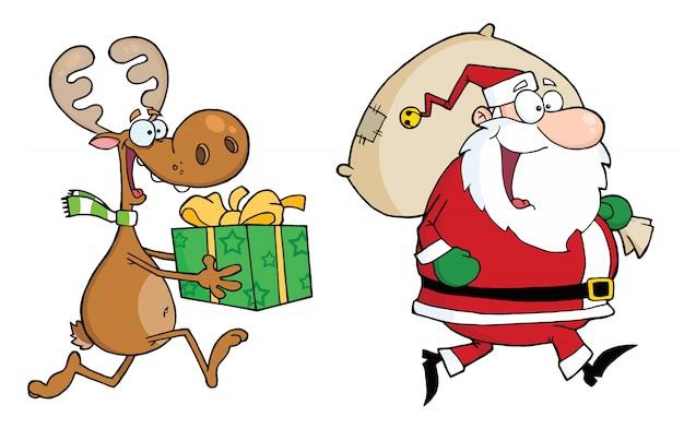 Felice babbo natale e renna corre con doni