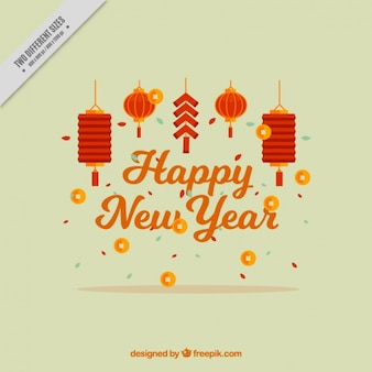Felice background cinese anno con lanterne decorative