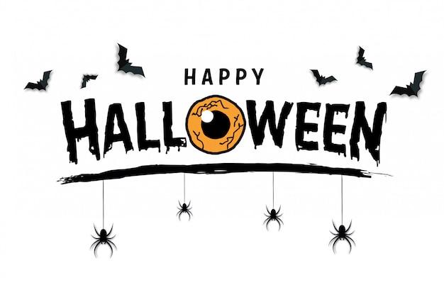 Felice banner di testo di halloween con ragni e pipistrelli, vettore