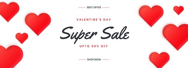 Felice banner di vendita di san valentino con cuori rossi.