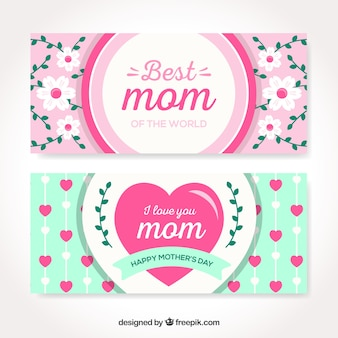 Felice banner festa della mamma in design piatto