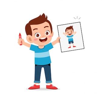 Felice carino ragazzino ragazzo e ragazza disegnare con il pastello su carta