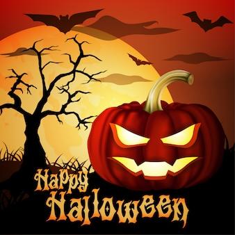 Felice cartolina d'auguri di halloween con albero pieno di luna piena zucca incandescente e pipistrello volante