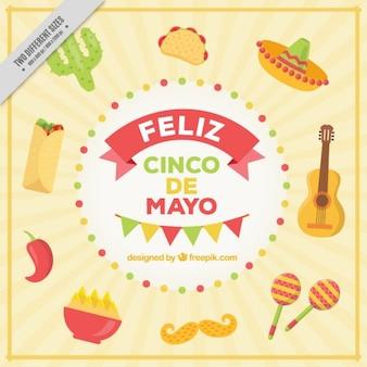 Felice cinque di maggio con il cibo e gli elementi messicano
