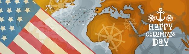 Felice columbus day america scopri holiday poster greeting card retro mondo mappa orizzontale banner