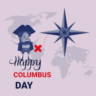 Felice columbus day national usa banner di auguri per le vacanze
