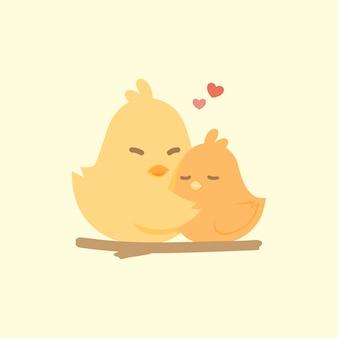 Felice coppia carina di uccelli innamorati