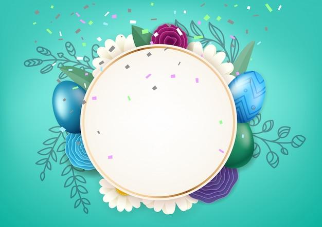 Felice cornice del cerchio di pasqua con elementi decorativi