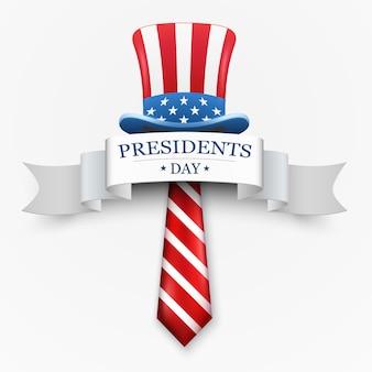 Felice design del giorno del presidente con lo zio sam cappello e cravatta