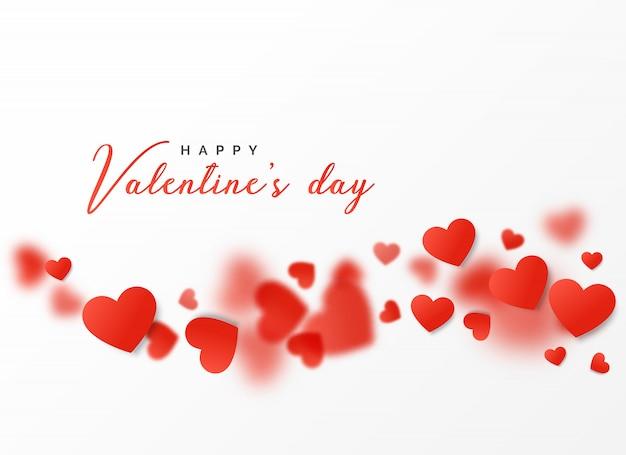 Felice disegno di carta di san valentino con cuori galleggianti