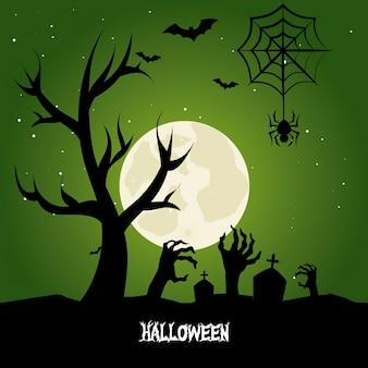 Felice disegno di halloween con silhouette di cimitero e mani di zombie