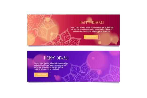 Felice diwali banner modello bokeh design