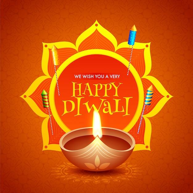 Felice diwali celebrazione auguri design con lampada a olio illuminata (diya) e fuochi d'artificio a razzo