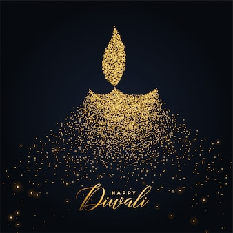 Felice diwali diya design realizzato con particelle incandescenti