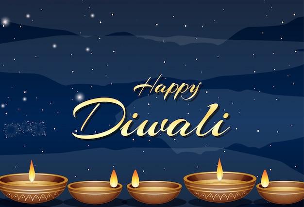 Felice diwali festival greeting card
