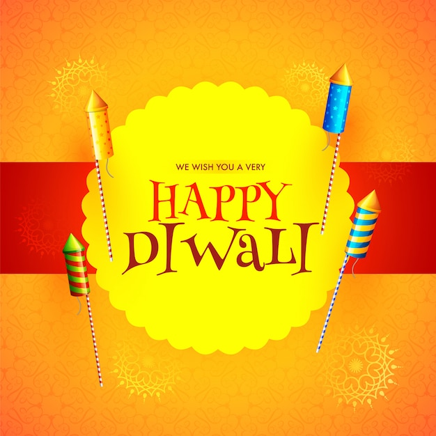 Felice diwali festival messaggio card design con fuochi d'artificio a razzo