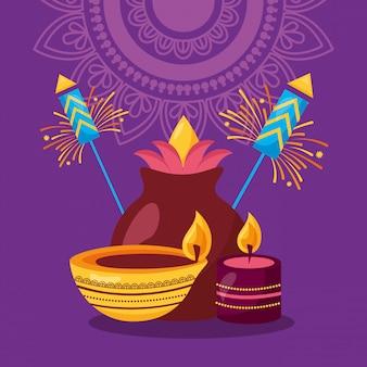 Felice diwali festival poster piatto