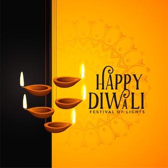Felice diwali festival sfondo con decorazioni diya
