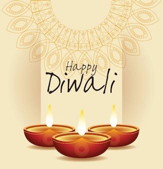 Felice diwali indian celebration design