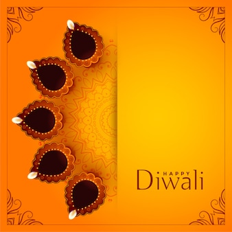 Felice diwali sfondo giallo con decorativo diya
