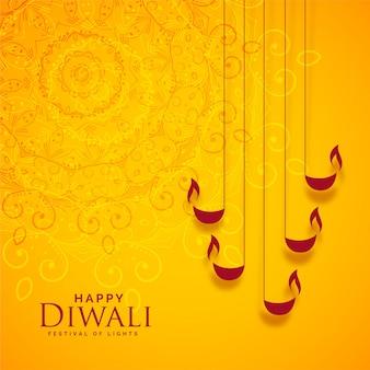 Felice diwali sfondo giallo