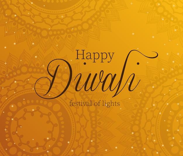 Felice diwali su arancione con disegno di sfondo mandala, tema festival delle luci.