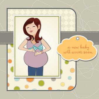 Felice donna incinta, baby shower card